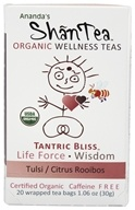 Ananda's Shantea - Organic Wellness Teas Tantric Bliss Tulsi/Citrus Rooibos Caffeine Free - 20 Tea Bags, from category: Teas