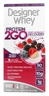 Designer Protein - Designer Whey Protein 2 Go Drink Mix Mixed Berry - 5 x .56 oz(16g) Packets
