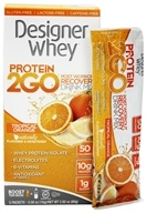 Designer Protein - Designer Whey Protein 2 Go Drink Mix Tropical Orange - 5 x .56 oz(16g) Packets (844334009588)