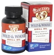 Barlean's - Wild and Whole Krill Oil 500 mg. - 60 Fish Softgel(s) by Barlean's
