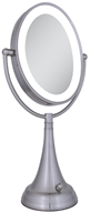 Zadro - LED Lighted Oval Vanity Mirror LEDOVLV410 Satin Nickel by Zadro