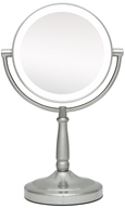 Zadro - LED Lighted 10X Vanity Mirror LEDMV410 Satin Nickel