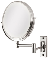 Zadro - Dual-Sided 5X Wall Mirror OVW45 Satin Nickel by Zadro