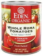 Eden Foods - Organic Whole Roma Tomatoes in Tomato Juice - 28 oz. (024182011128)