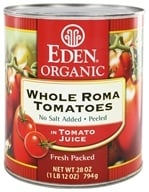 Eden Foods - Organic Whole Roma Tomatoes in Tomato Juice - 28 oz., from category: Health Foods