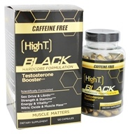 High T - Black Testosterone Booster Hardcore Formulation Caffeine Free - 120 Capsules by High T