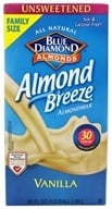 Blue Diamond Growers - Almond Breeze Almond Milk Unsweetened Vanilla - 0.5 Gallon