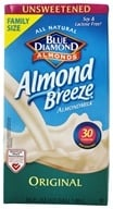 Blue Diamond Growers - Almond Breeze Almond Milk Unsweetened Original - 0.5 Gallon (041570052600)