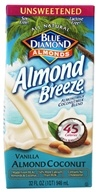 Blue Diamond Growers - Breeze Almond Milk Unsweetened Vanilla Almond Coconut - 32 oz.