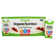 Orgain - Organic Ready To Drink Meal Replacement Strawberries and Cream - 12 Pack by Orgain