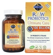 Garden of Life - Raw Probiotics Ultimate Care 34 Probiotic Strains 100 Billion CFU - 30 Vegetarian Capsules