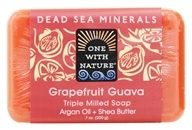 Image of One With Nature - Dead Sea Minerals Triple Milled Bar Soap Grapefruit Guava - 7 oz.