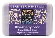 One With Nature - Dead Sea Minerals Triple Milled Bar Soap Blackberry Pear - 7 oz. by One With Nature