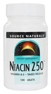 Source Naturals - Niacin 250 Vitamin B-3 Timed Release 250 mg. - 100 Tablets (021078008552)