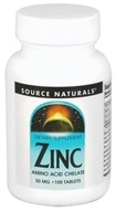 Source Naturals - Zinc Amino Acid Chelate 50 mg. - 100 Tablets by Source Naturals