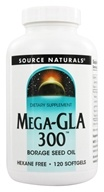 Source Naturals - Mega-GLA 300 Borage Seed Oil - 120 Softgels