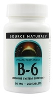 Source Naturals - Vitamin B-6 50 mg. - 250 Tablets