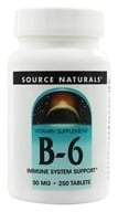 Source Naturals - Vitamin B-6 50 mg. - 250 Tablets (021078004127)