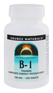 Image of Source Naturals - B-1 Thiamin 100 mg. - 250 Tablets