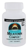 Image of Source Naturals - Melatonin Complex Sublingual Orange Flavored 3 mg. - 100 Tablets