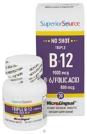 Superior Source - No Shot Triple B12 9000 mcg B6/Folic Acid 800 mcg Instant Dissolve - 30 Tablets CLEARANCE PRICED