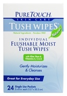 Image of Pure Touch Skin Care - Individual Flushable Moist Tush Wipes Naturals - 24 Packet(s)