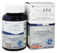 Minami Nutrition - MorEPA Platinum Ultimate Once Daily Omega-3 + D3 Orange Flavor 1100 mg. - 60 Softgels