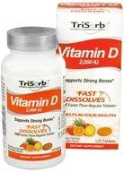 Healthy Natural Systems - TriSorb Vitamin D Fast Dissolves Delicious Orange Pineapple Flavor 2000 IU - 120 Tablets - $23.99