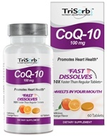 Image of Healthy Natural Systems - TriSorb CoQ-10 Fast Dissolves Delicious Orange Flavor 100 mg. - 60 Tablets