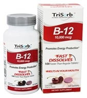 Healthy Natural Systems - TriSorb B-12 Fast Dissolves Delicious Cherry Flavor 10000 mcg. - 60 Tablets - $31.99