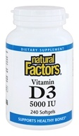 Natural Factors - Vitamin D3 5000 IU - 240 Softgels, from category: Vitamins & Minerals