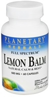 Planetary Herbals - Lemon Balm Full Spectrum 500 mg. - 60 Capsules, from category: Herbs