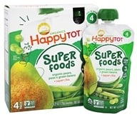 HappyFamily - Organic HappyTot Super Foods Pouches Pears, Peas & Green Beans + Super Chia - 4 Pouches