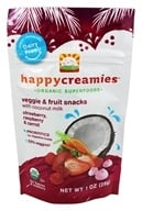 Image of HappyBaby - Happy Creamies Organic Superfoods Veggie & Fruit Snacks Strawberry, Raspberry, & Carrot - 1 oz.