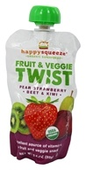Image of Happy Family - Happy Squeeze Organic SuperFoods Fruit and Veggie Twist Strawberry Kiwi Beet - 3.5 oz.