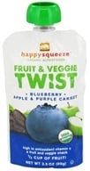 Image of Happy Family - Happy Squeeze Organic SuperFoods Fruit and Veggie Twist Blueberry Apple & Purple Carrot - 3.5 oz.