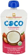 Image of Happy Family - Happy Squeeze Organic SuperFoods Coco Coconut Milk Strawberry - 3.5 oz.