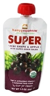 Happy Family - Happy Squeeze Organic SuperFoods Super Acai Grape & Apple - 3.5 oz., from category: Health Foods