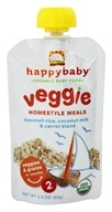 HappyBaby - Organic Baby Food Stage 2 Veggie Homestyle Meals Ages 6+ Months Basmati Rice, Coconut Milk & Carrot Blend - 3.5 oz.