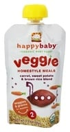 Image of HappyBaby - Organic Baby Food Stage 2 Veggie Homestyle Meals Ages 6+ Months Carrot, Sweet Potato & Brown Rice Blend - 3.5 oz.