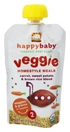 HappyBaby - Organic Baby Food Stage 2 Veggie Homestyle Meals Ages 6+ Months Carrot, Sweet Potato & Brown Rice Blend - 3.5 oz.