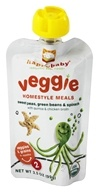Image of HappyBaby - Organic Baby Food Stage 2 Veggie Homestyle Meals Ages 6+ Months Sweet Peas, Green Beans & Spinach - 3.5 oz.