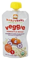 HappyBaby - Organic Baby Food Stage 2 Veggie Homestyle Meals Ages 6+ Months Pumpkin & White Bean Blend - 3.5 oz. (853826003492)
