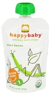 HappyBaby - Organic Baby Food Stage 1 Starting Solids Green Beans - 3.5 oz.