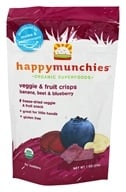 HappyBaby - Happy Munchies Organic SuperFoods Veggie and Fruit Crisps Banana, Beet, & Blueberry - 1 oz. (819573010213)