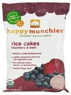 Image of HappyBaby - Happy Munchies Organic SuperFoods Rice Cakes Blueberry & Beet - 1.4 oz.