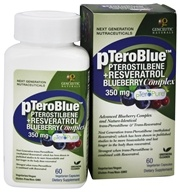 Genceutic Naturals - pTeroBlue Pterostilbene + Resveratrol Blueberry Complex 350 mg. - 60 Vegetarian Capsules, from category: Nutritional Supplements