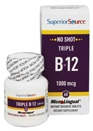 Superior Source - No Shot Triple B12 Instant Dissolve 1000 mcg. - 60 Tablet(s) CLEARANCED PRICED - $8.85