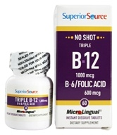 Superior Source - No Shot Triple B12 1000 mcg. and B6 Folic Acid Instant Dissolve 600 mcg. - 60 Tablet(s) by Superior Source