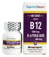 Superior Source - No Shot Triple B12 1000 mcg. and B6 Folic Acid Instant Dissolve 600 mcg. - 60 Tablet(s) (076635910809)